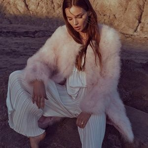 Next Chapter Pink Feather Fur Long Bomber Jacket